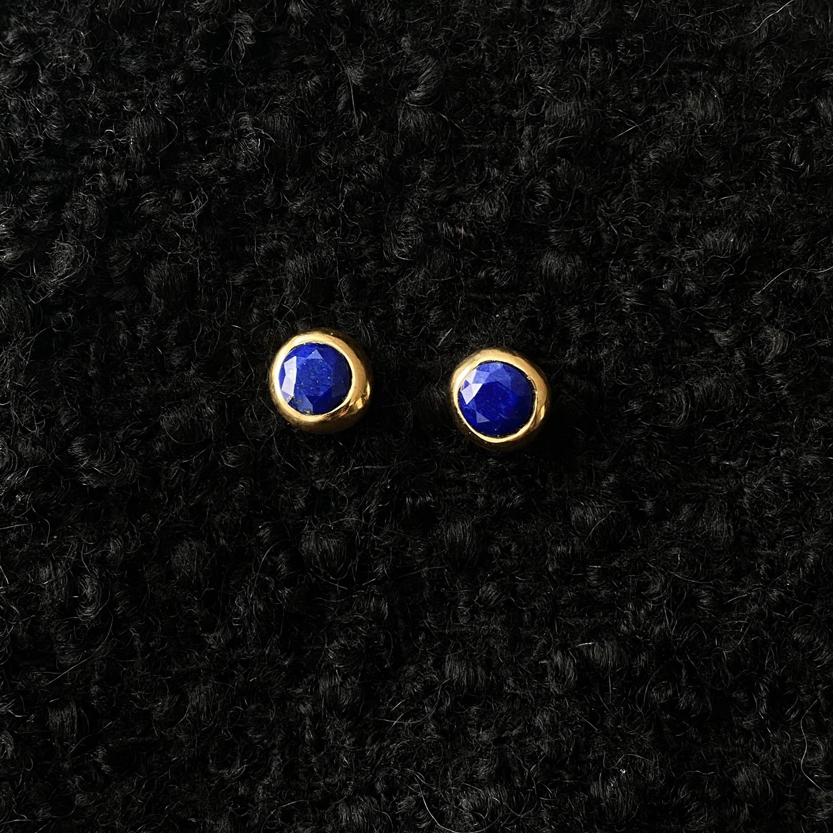 lapis ball earring